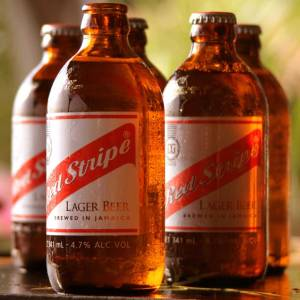 Red Stripe Lager Beer Bottles ata bar in Jamaica